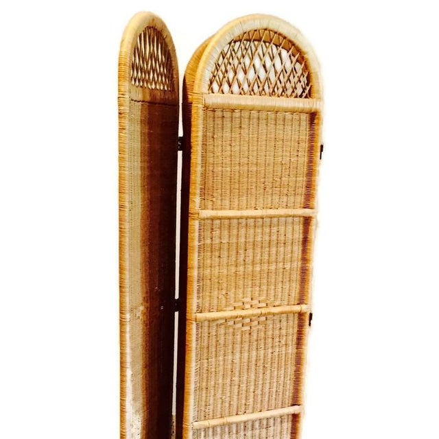 Vintage Wicker Rattan Folding Screen Room Divider - Image 6 of 7