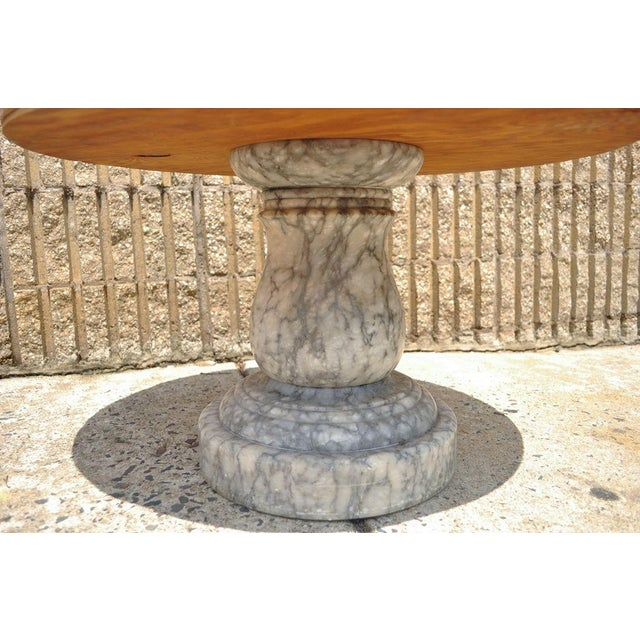 Marble Vintage Decorator Hollywood Regency Italian Grey Marble Round Coffee Table For Sale - Image 7 of 8