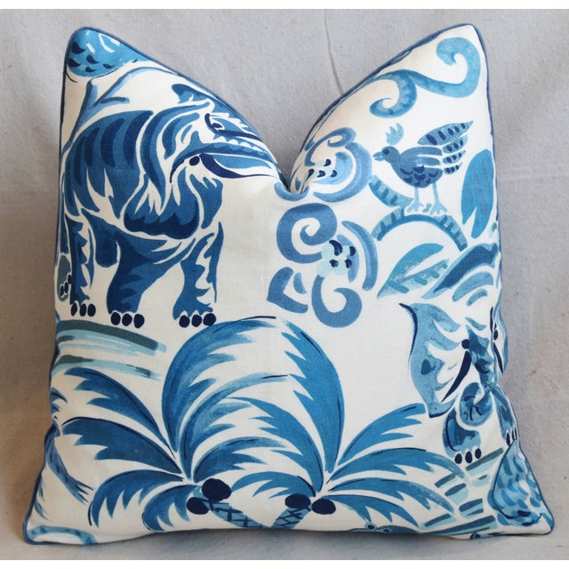 "Blue P. Kaufmann Blue & White Animal Feather/Down Pillow 21"" Square For Sale - Image 8 of 9"