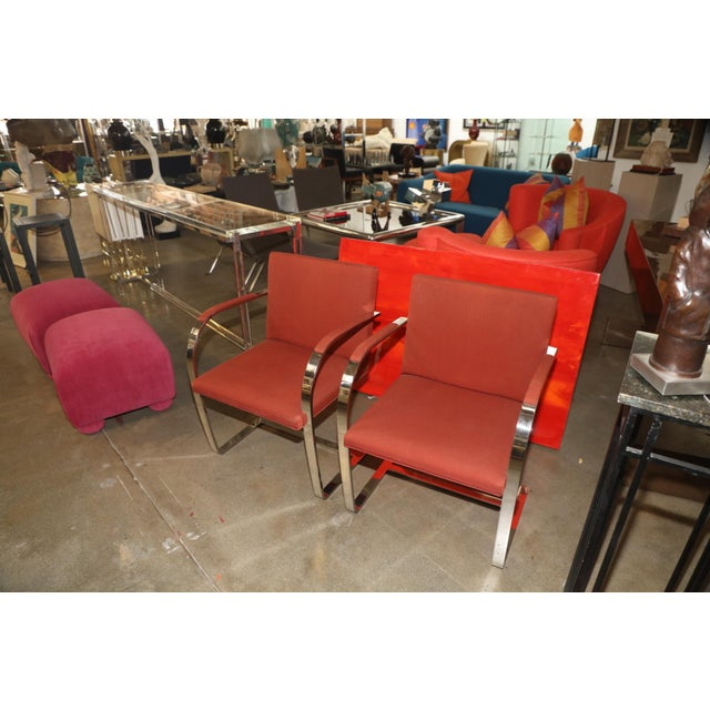 Knoll Mies Van Der Rohe Brno Chairs Flat Bar Dated 1980 - a Pair For Sale - Image 9 of 10