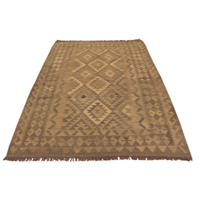 Contemporary Uriela Gray/Brown Hand-Woven Kilim Wool Rug -4'3 X 5'10 For Sale - Image 3 of 8