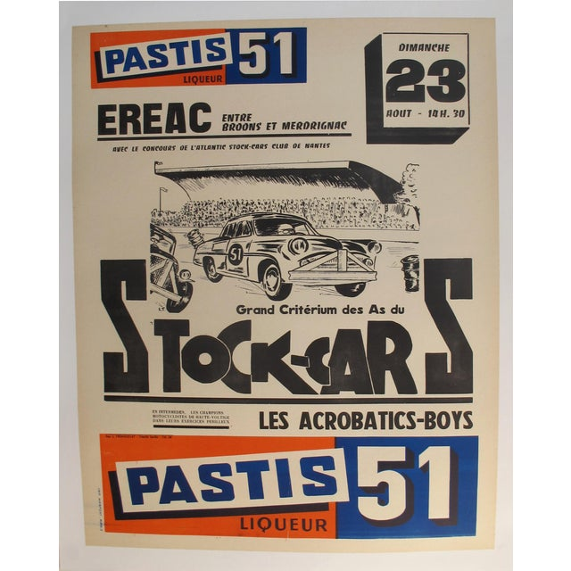 1960s 1960s French Stock-Cars Racing Poster, Pastis 51 Liquor Advertisement. For Sale - Image 5 of 5