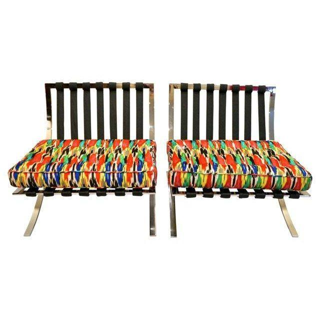 Mid-Century Modern Barcelona Style Chairs - Pair - Image 5 of 7