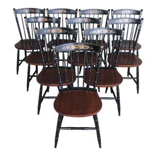 L. Hitchcock Black Harvest Thumb Back Windsor Side Chairs - Set of 10 For Sale