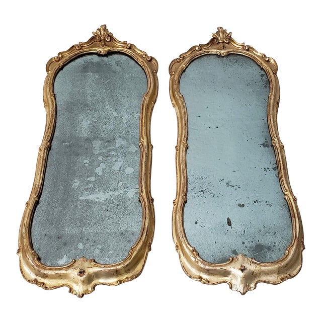 Matching Pair of 19th Century Italian Hand Carved & Gilded Mirrors For Sale