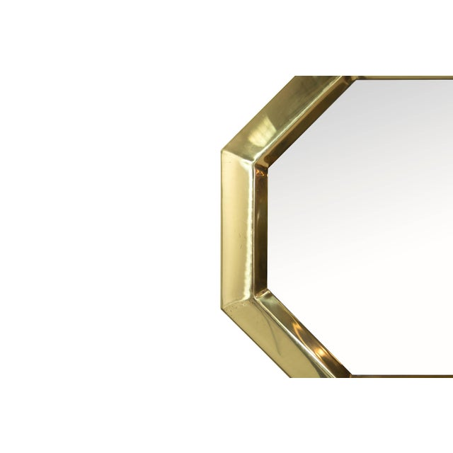 1950s Octagonal Brass Frame Mirrors - a Pair For Sale - Image 4 of 8