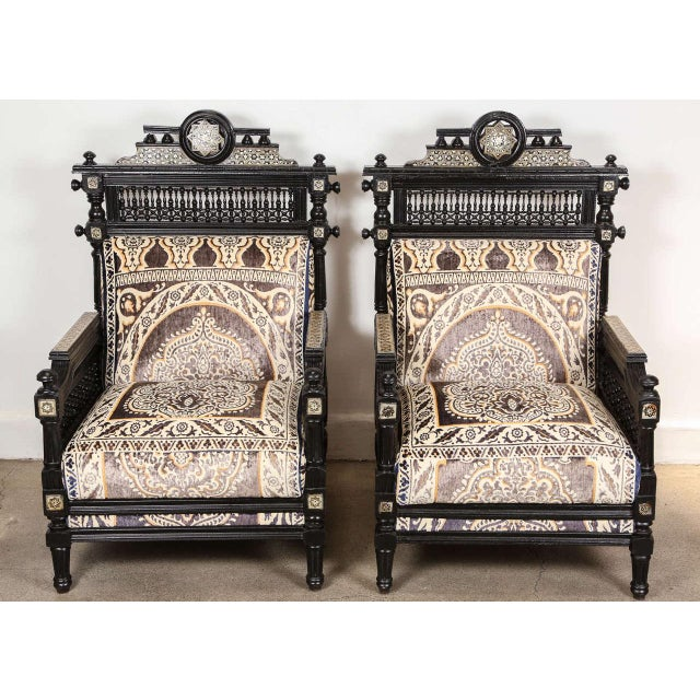 Antique Syrian Moorish Style Black Armchairs - A Pair For Sale - Image 9 of 9