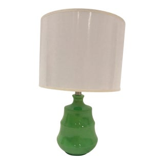 Contemporary Small Green Table Lamp With Glossy White Shade and Glass Ball Finial