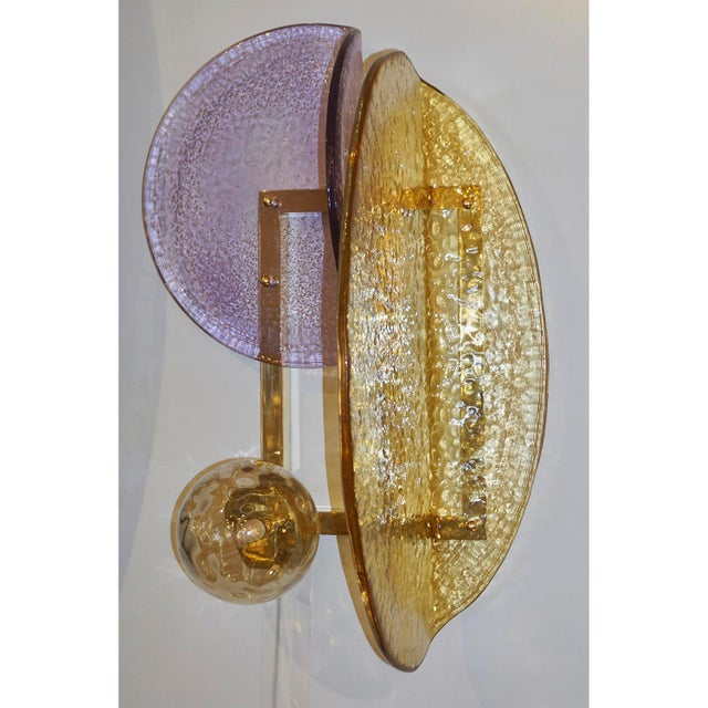 Contemporary Italian Amber and Amethyst Murano Glass Gold Brass Sconces - a Pair For Sale - Image 4 of 10