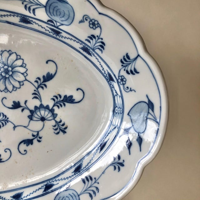 Antique Ernst Teichert Meissen Blue Onion Serving Platter For Sale - Image 9 of 10