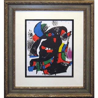 1981 Original Lithograph Art Print Custom Framed Unsigned by Joan Miro For Sale