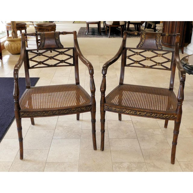 John Richard Traditional Cane Seat Regency Armchairs- a Pair For Sale - Image 13 of 13