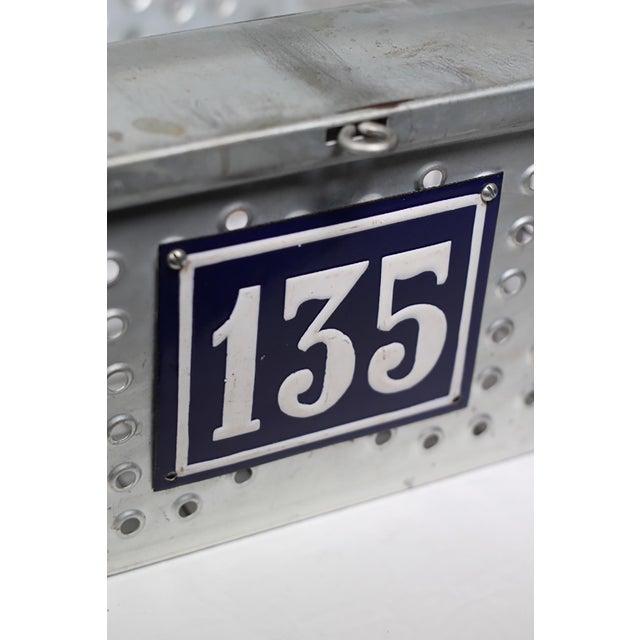 1930s Industrial Metal Basket with Porcelain Number Plate - Image 2 of 2