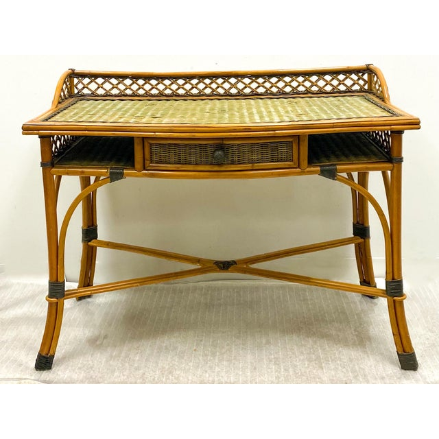 French Vintage French Rattan and Wicker Desk & Chair by Grange For Sale - Image 3 of 5
