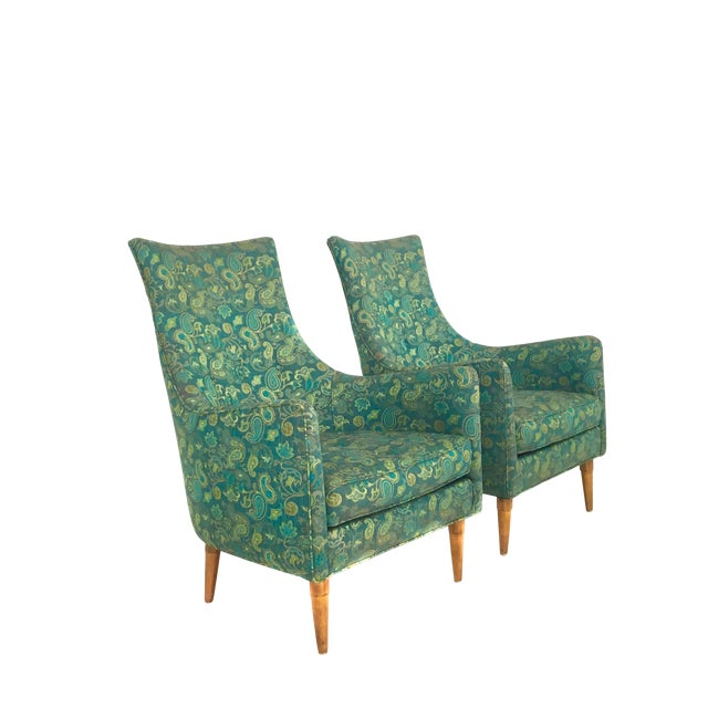 Tremendous Green Paisley Mid Century Modern Lounge Chairs A Pair Dailytribune Chair Design For Home Dailytribuneorg