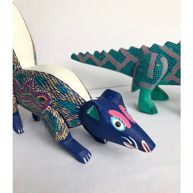 Mexican Late 20th Century Mexican Folk Art Lizard and Skunk - Set of 2 For Sale - Image 3 of 8