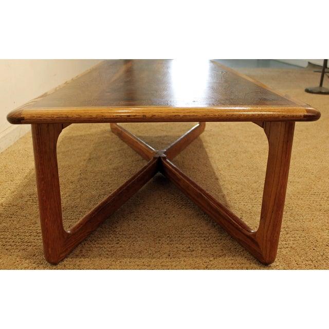 Oak Lane Perception Mid-Century Oak Walnut X-Base Coffee Table For Sale - Image 7 of 11