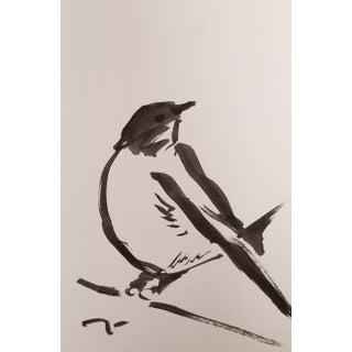 Abstract Modern Little Finch Bird Ink Wash by Jose Trujillo For Sale