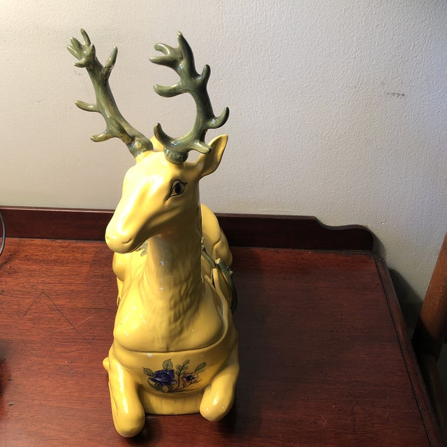 Tiffany and Co. 1980s Tiffany Italian Porcelain Vintage Deer Covered Box For Sale - Image 4 of 11