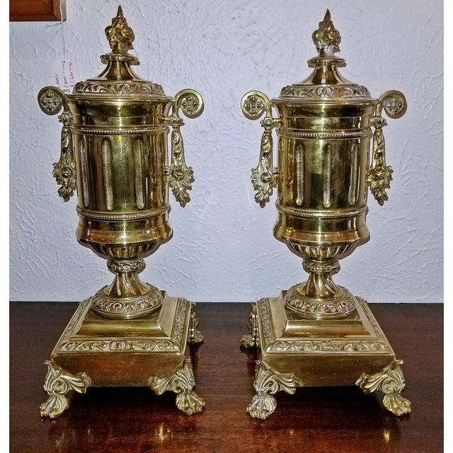 Brass Pair of 19c French Neoclassical Style Brass Garnitures For Sale - Image 7 of 13