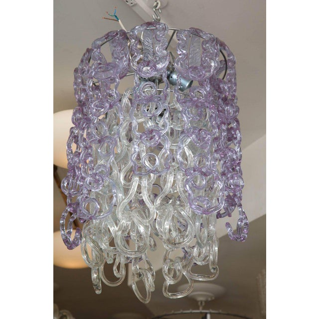 Blue Vintage Vistosi Lavender and Clear Murano Link Chandelier For Sale - Image 8 of 8
