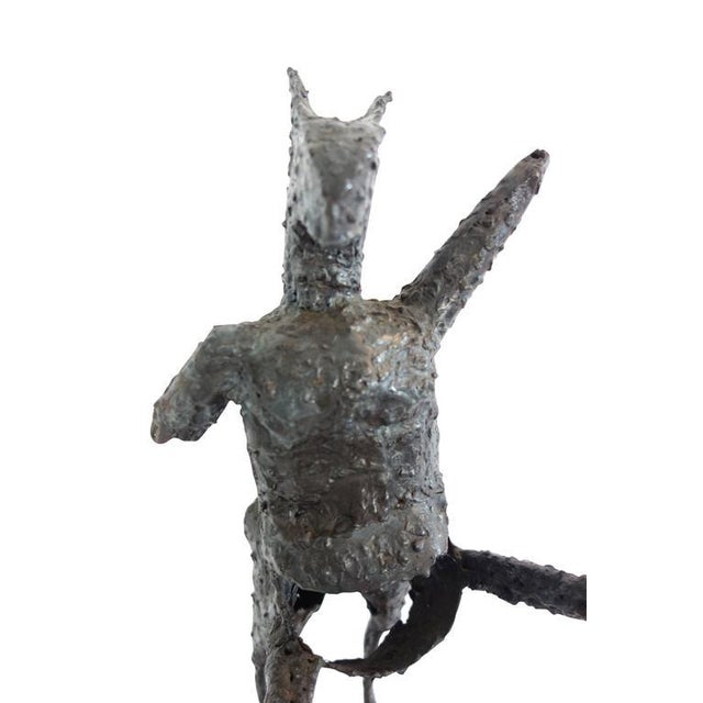 Brown Steel Centaur Sculpture on Wood Base For Sale - Image 8 of 10