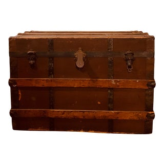 Vintage Rustic Wooden Chest For Sale