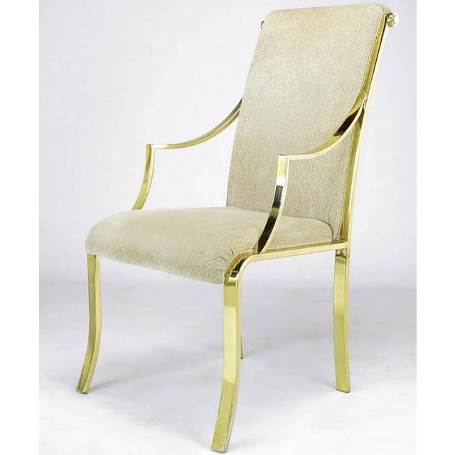 Set of Six Art Deco Revival Brass Dining Chairs by Design Institute of America - Image 6 of 9