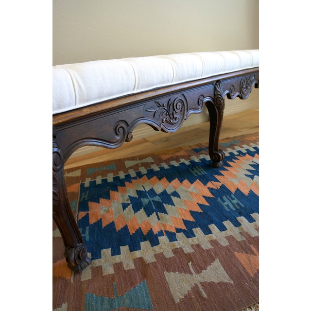 Vintage Carved Wood Button Tufted Bench - Image 7 of 7