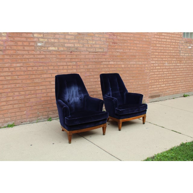 1960s 1960s Art Deco Blue Mohair Velvet Armchairs - a Pair For Sale - Image 5 of 13