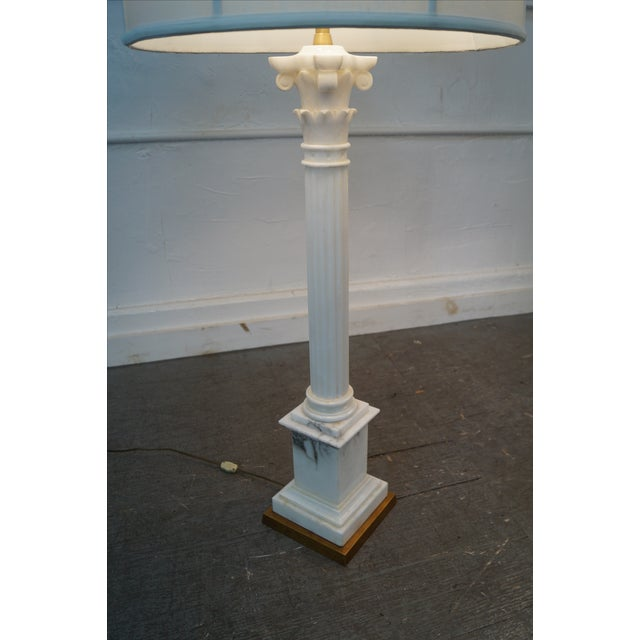 Carrara Marble Corinthian Column Lamps - Pair For Sale - Image 7 of 10