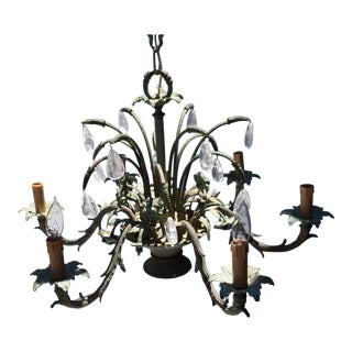 Bronze Flower Basket Chandelier With Rock Crystal Drops For Sale