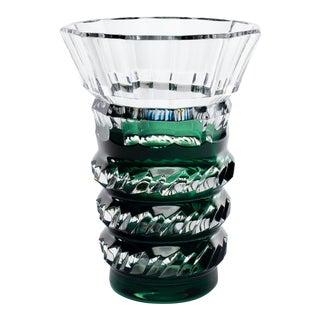 Art Deco Green Over Crystal Vase Charles Graffart Attributed for Val St. Lambert For Sale