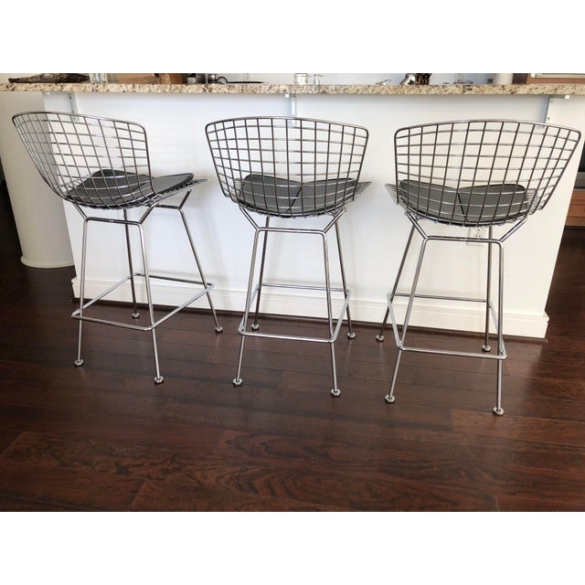 Bertoia Counter Stools With Seat Pads - Set of 3 - Image 7 of 11