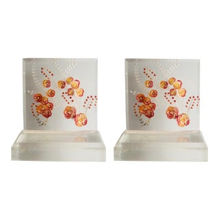 1960s Vintage Lucite Pink and Orange Floral Bookends-a Pair For Sale