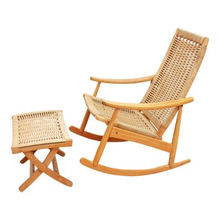 Danish Modern Rope Rocking Chair and Ottoman Set For Sale