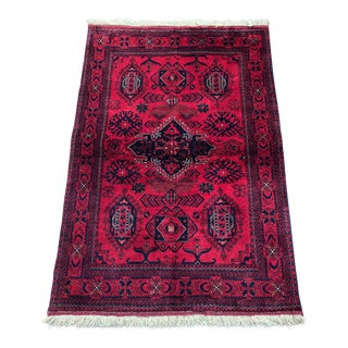 Persian Baluch Deep Red Wool Carpet - 3′3″ × 4′10″ For Sale