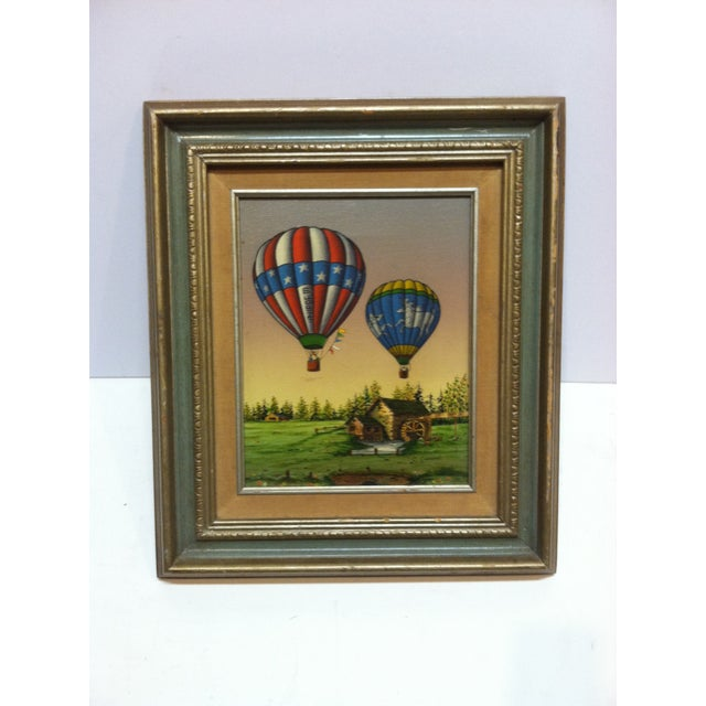 "Late 20th Century Late 20th Century C. Carson ""Colorful Designed Balloons"" Framed Original Canvas Painting For Sale - Image 5 of 5"