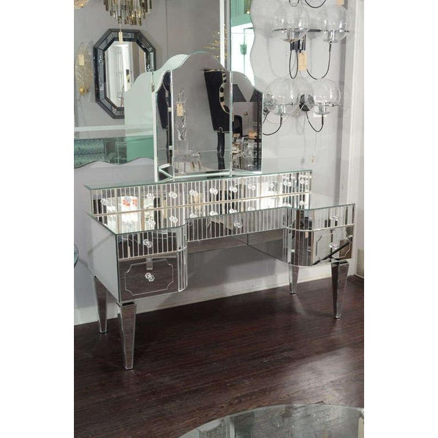 Silver Custom Mirrored Vanity with Tryptic Mirror and Baguette Detailing For Sale - Image 8 of 8
