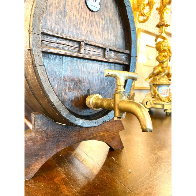 Rustic European 19th Century French Oak Cognac Barrel on Stand For Sale - Image 3 of 8