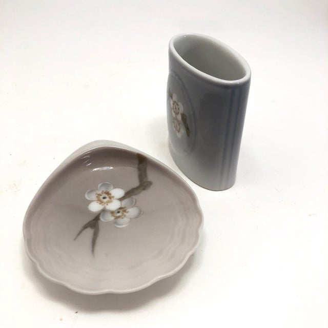 Traditional Bing & Grondahl Denmark Porcelain Ashtray and Cigarette Holder With Blossom on Branch - a Pair For Sale - Image 3 of 13