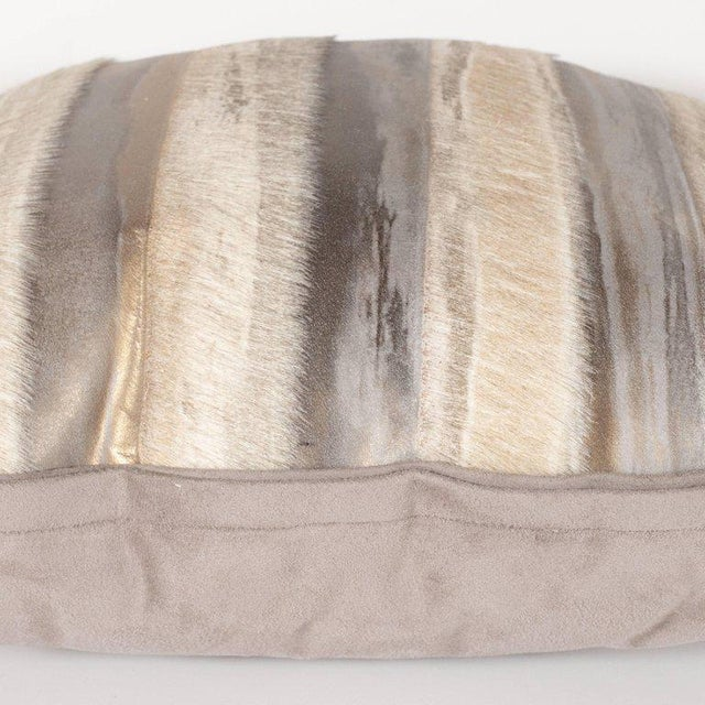 Pair of Custom Modernist Horsehide and Ultra Suede Banded Pillows in Metallic Tones For Sale - Image 9 of 10