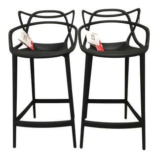 Modern Philippe Starck for Kartell Masters Black Plastic Stools