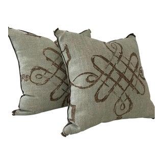 Seafoam & Brown Linen Pillows- a Pair For Sale