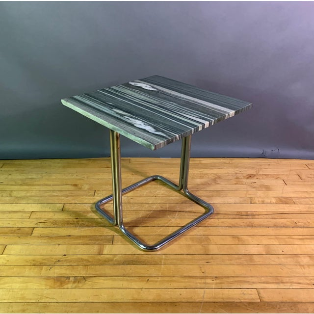 Howell Mfg. Wolfgang Hoffman (Attr) 1930s Tubular Chrome & Marble Table For Sale - Image 4 of 11