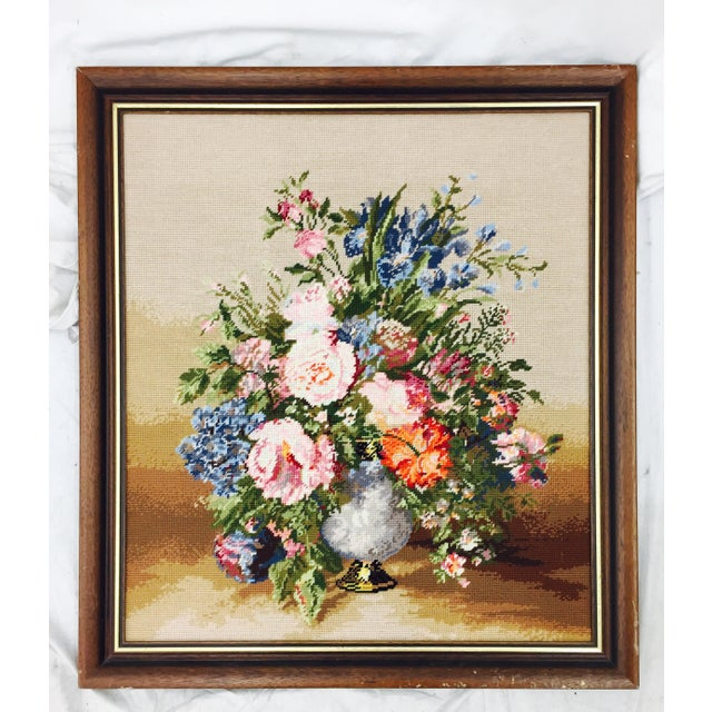 Large Wooden Framed Floral Needlepoint - Image 2 of 5