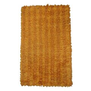 Vintage Swedish Modern 3x5 Striped Orange and Gold Shag Rya Rug For Sale