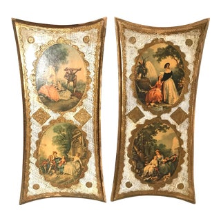20th Century Italian Florentine Wall Hangings - a Pair For Sale