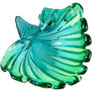 Murano Sommerso Blue Green Italian Art Glass Flared Seashell Sculpture Bowl For Sale