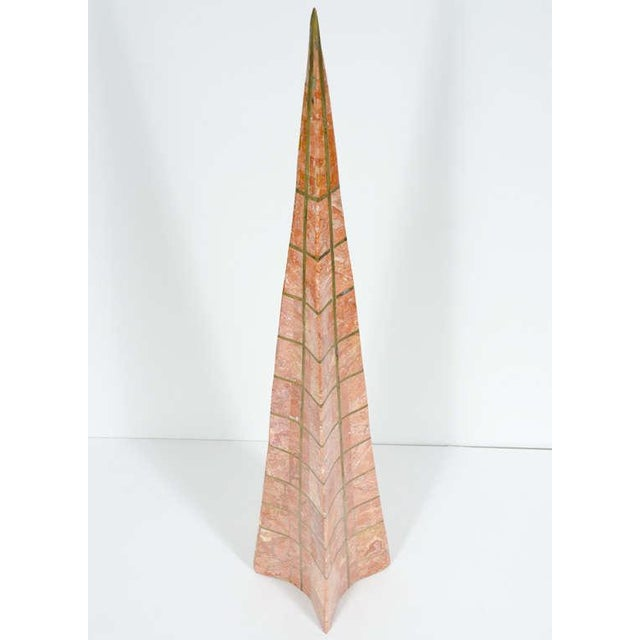 Hollywood Regency Pair of Bronze Inlay and Stone Obelisks by Casa Bique For Sale - Image 3 of 10